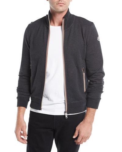 90a37921d Fleece-Back Cotton-Jersey Zip-Up Sweatshirt in Dark Gray