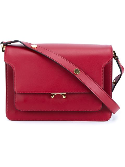 Marni Trunk Leather Shoulder Bag In Red