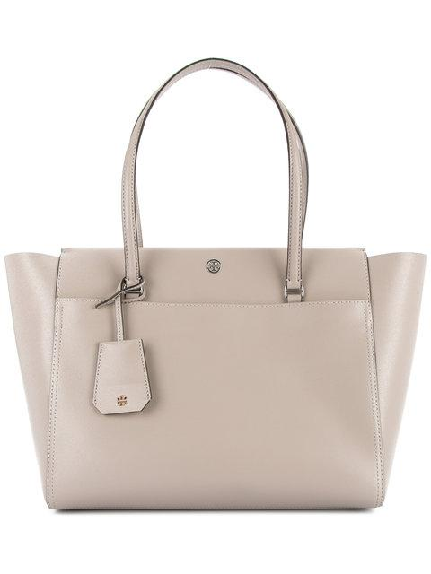 debcd2f5033b Tory Burch Parker Leather Tote - Grey In Dust Storm   Cardamom ...