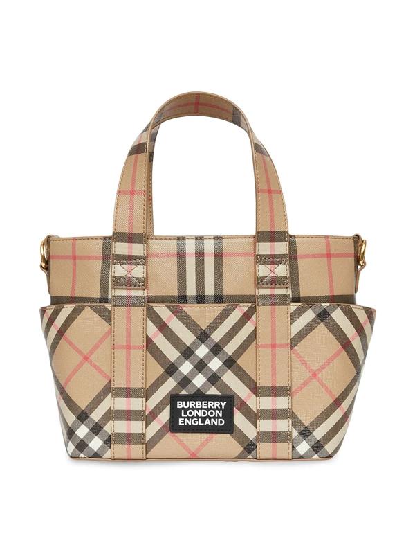 Burberry Logo Appliqué Vintage Check Tote Bag In Brown