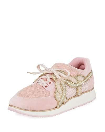 Sophia Webster Royalty Embellished Lace-up Trainer Sneakers In Light Pink