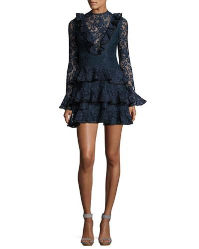 cd1fd9651c57 Alexis Tracie Long-Sleeve Tiered Ruffled Lace Mini Dress In Navy ...