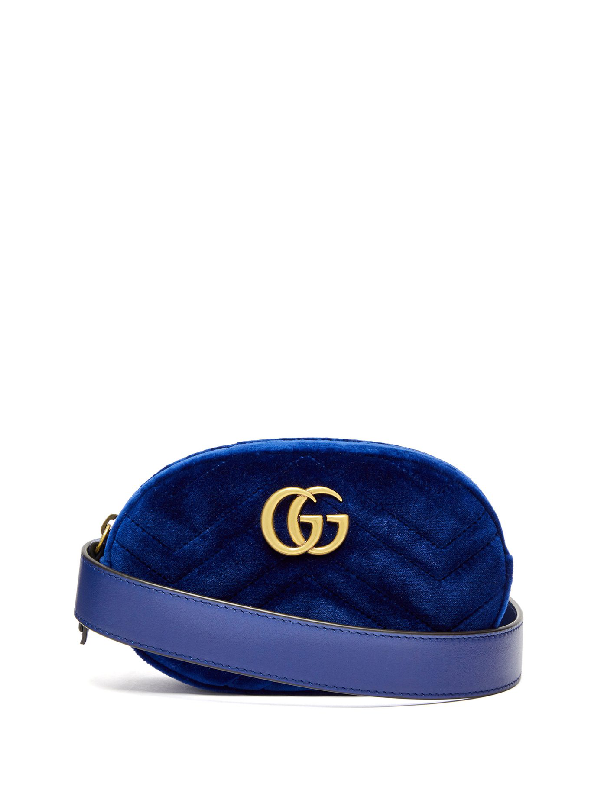 673649484e0 Gucci Gg Marmont MatelassÉ Velvet Belt Bag In Blue