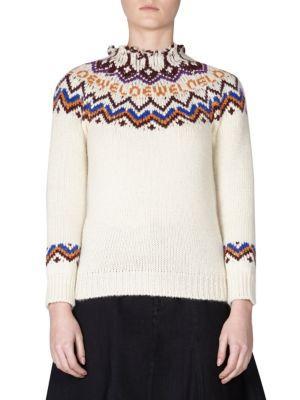 Loewe Wool Cashmere & Alpaca Sweater In White Multi