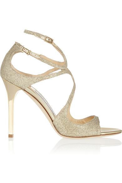 Jimmy Choo Lang Textured-LamÉ Sandals In Gold