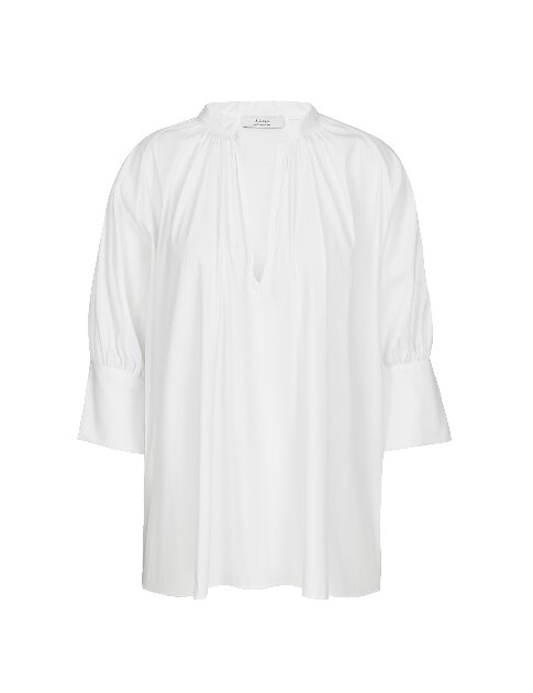 A-line Cotton Blend Oversized Sleeves Poplin Shirt In White