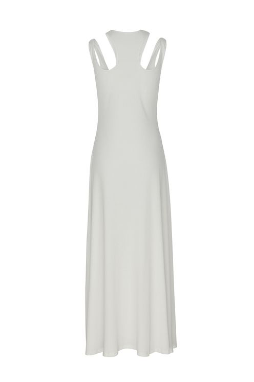 A-line Shoulder Cut-out Rib Long Dress In White