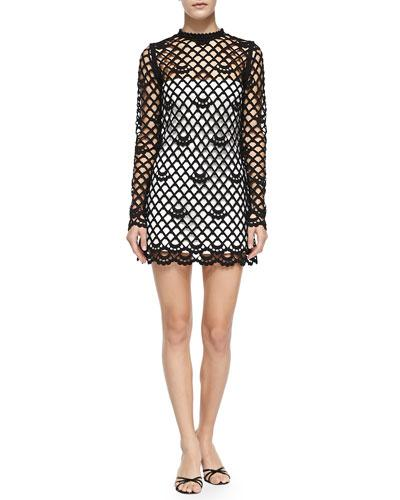 Marc Jacobs Guipure Lace Dress With Strapless Slip, Black/ivory
