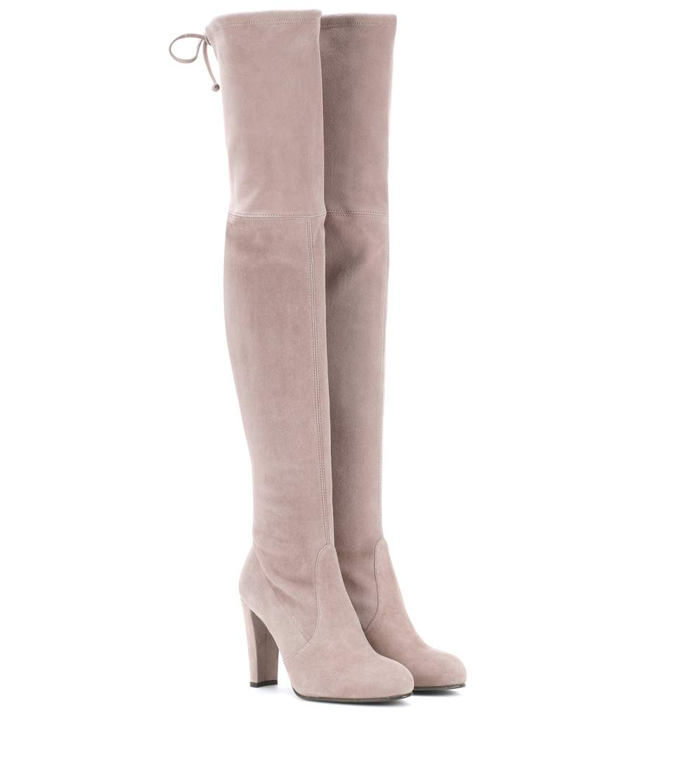 bcf8b1aac89 Stuart Weitzman Suede Highland Over-The-Knee Boots 90 In Grey