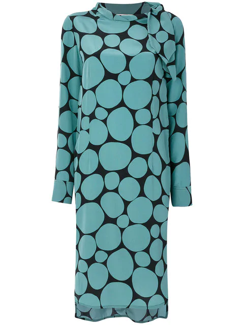 Marni Long Sleeves Silk Dress In Blue
