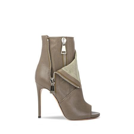 Casadei Perforated Open-Toe Boots In Olive Green