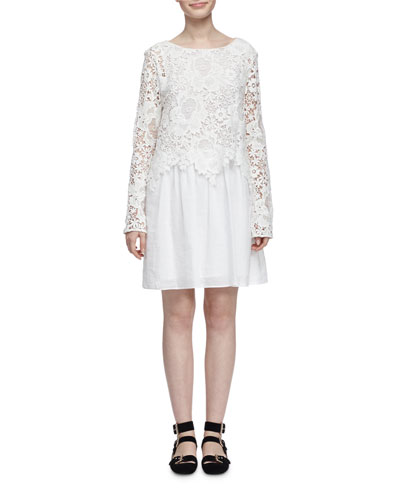 See By ChloÉ MacramÉ Lace And Cotton-poplin Mini Dress In Cloud Dancer