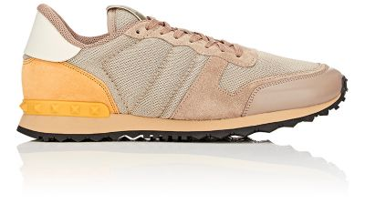 48ff46bd23ca6 Valentino Rockstud Sneakers With Leather And Suede In Beige   ModeSens