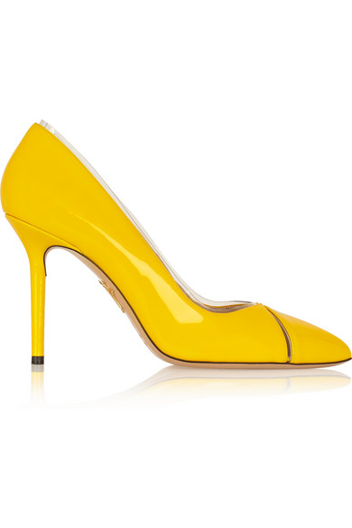 Charlotte Olympia Natalie Pvc-Trimmed Patent-Leather Pumps In Yellow