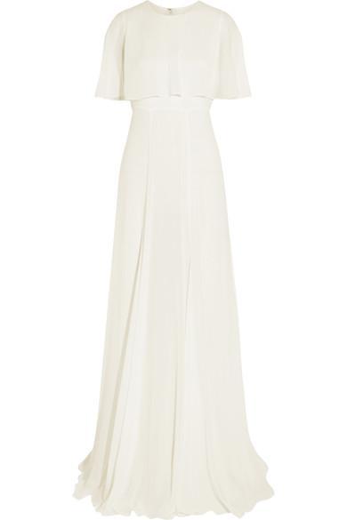 Giambattista Valli Cape-effect Silk-georgette Gown In Ivory