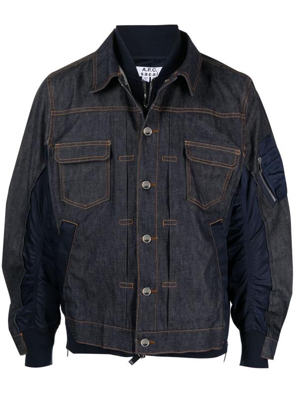A.p.c. Sacai Oversized Nylon-panelled Denim Jacket In Blue