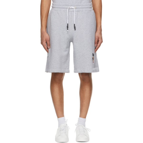 Palm Angels Men's Pirate Bear Embroidered Sweatshorts In Grey White