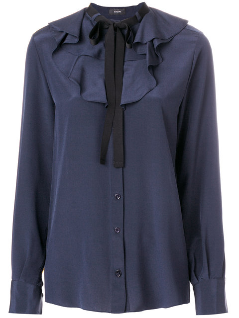 Joseph Pussy Bow Blouse In Blue