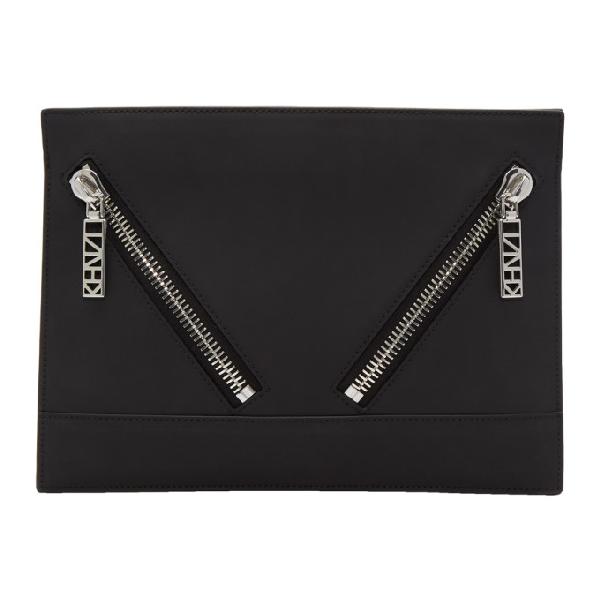 Kenzo Kalifornia Gommato Leather Clutch In Black