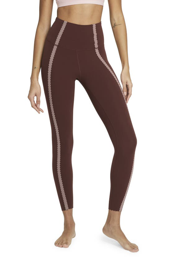 Nike Yoga Luxe Eyelet Dri-fit 7/8 Leggings In Bronze Eclipse/ Smokey Mauve