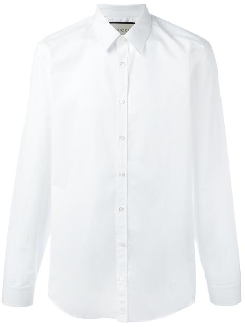 Gucci Slim-Fit Cotton-Poplin Shirt In Bianco