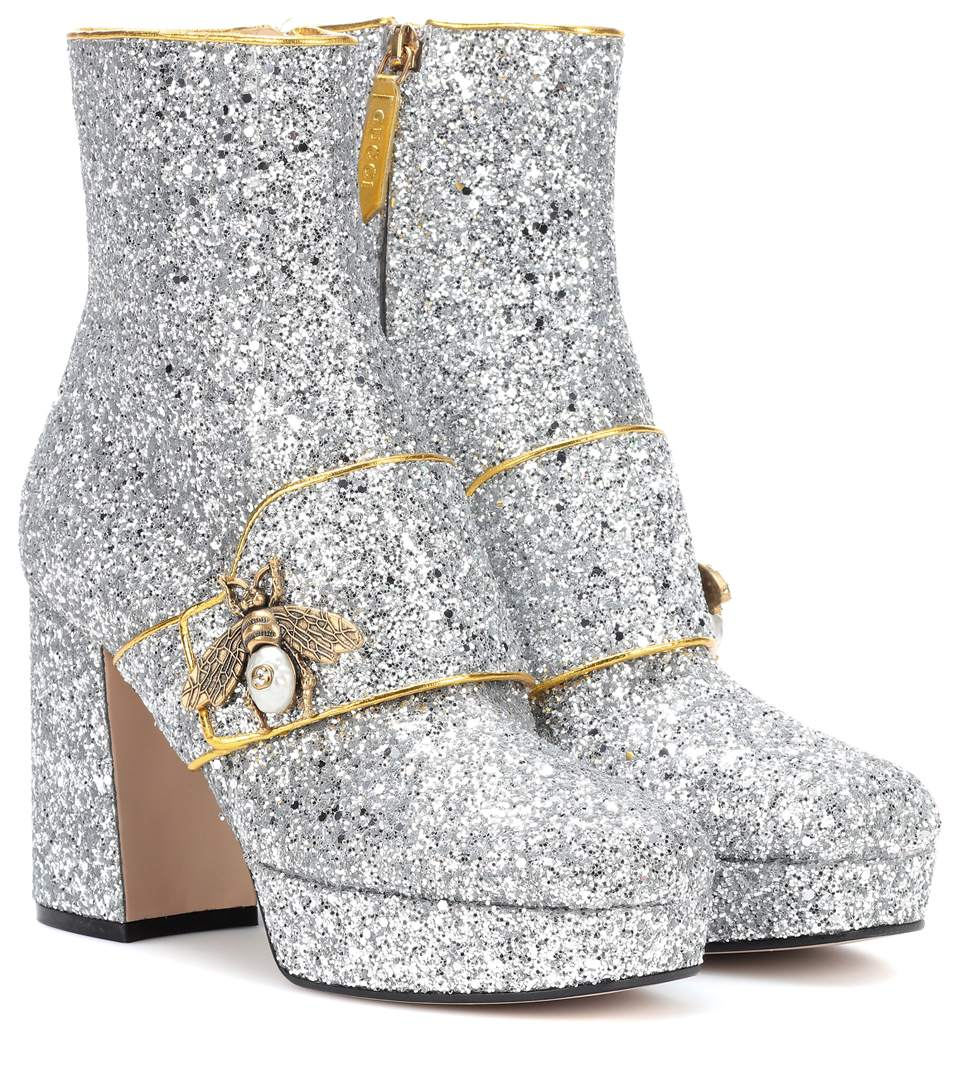 85097fa0ffc Gucci Soko Glitter Platform Ankle Boots In Argent Nat