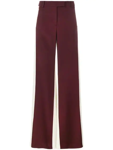 Valentino Pleated Silk-Satin Wide-Leg Pants In Red