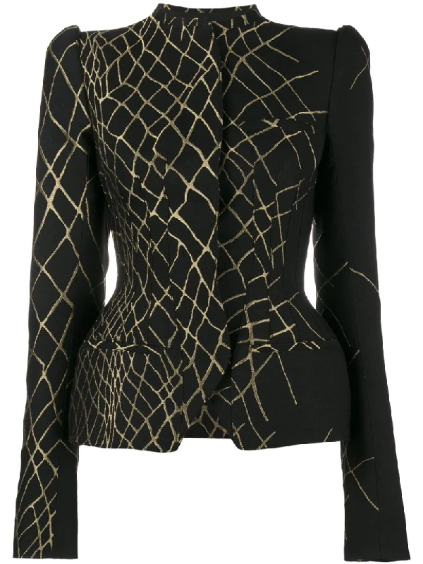 Haider Ackermann 3d Jacquard Fitted Hourglass Jacket In Black