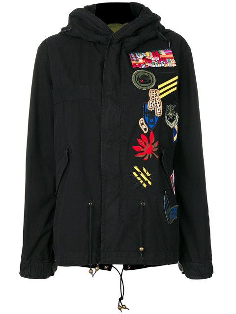 Mr & Mrs Italy Patch Detail Parka In Black