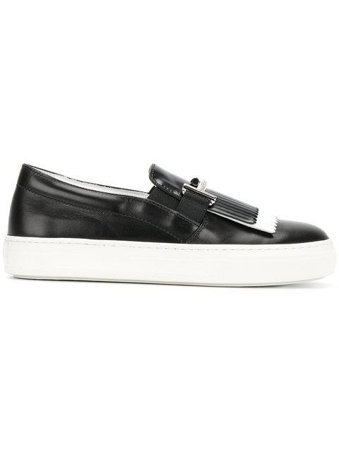 Tod's Double T Fringed Leather Sneakers In Black+white