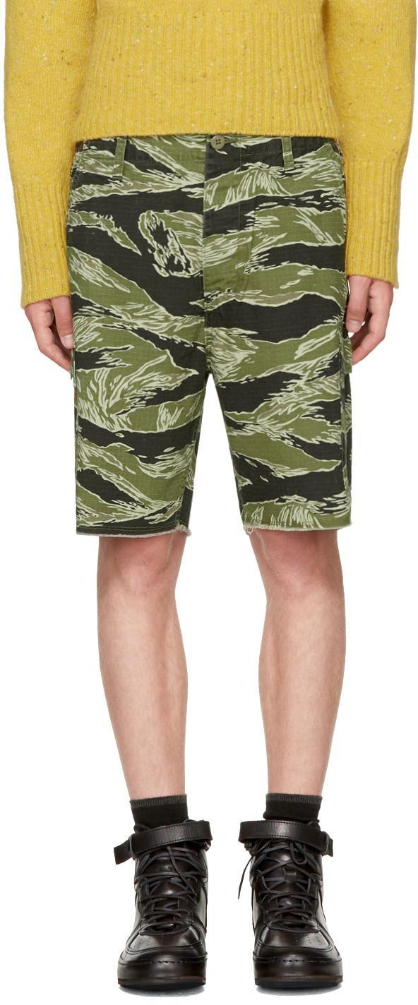 Wacko Maria Green Jungle Army Shorts In Tiger Camo