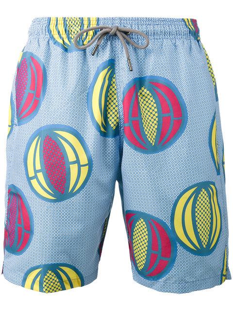 Okun Ali Melon Print Swim Shorts - Blue