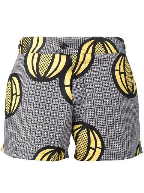 Okun Patrice Melon Print Swim Shorts In Black