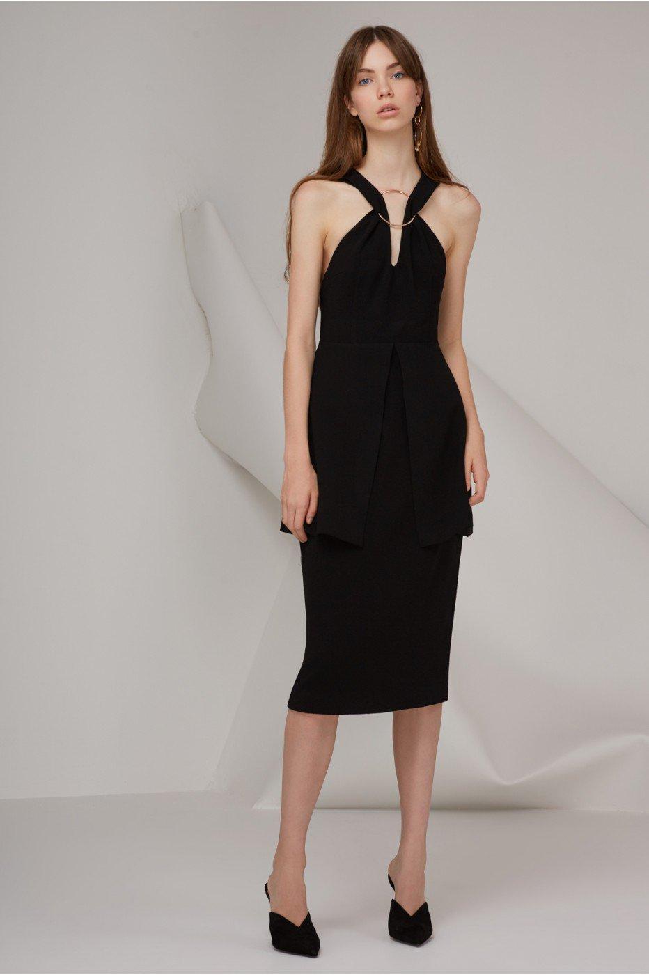 Keepsake Darkest Light Midi Dress In Black