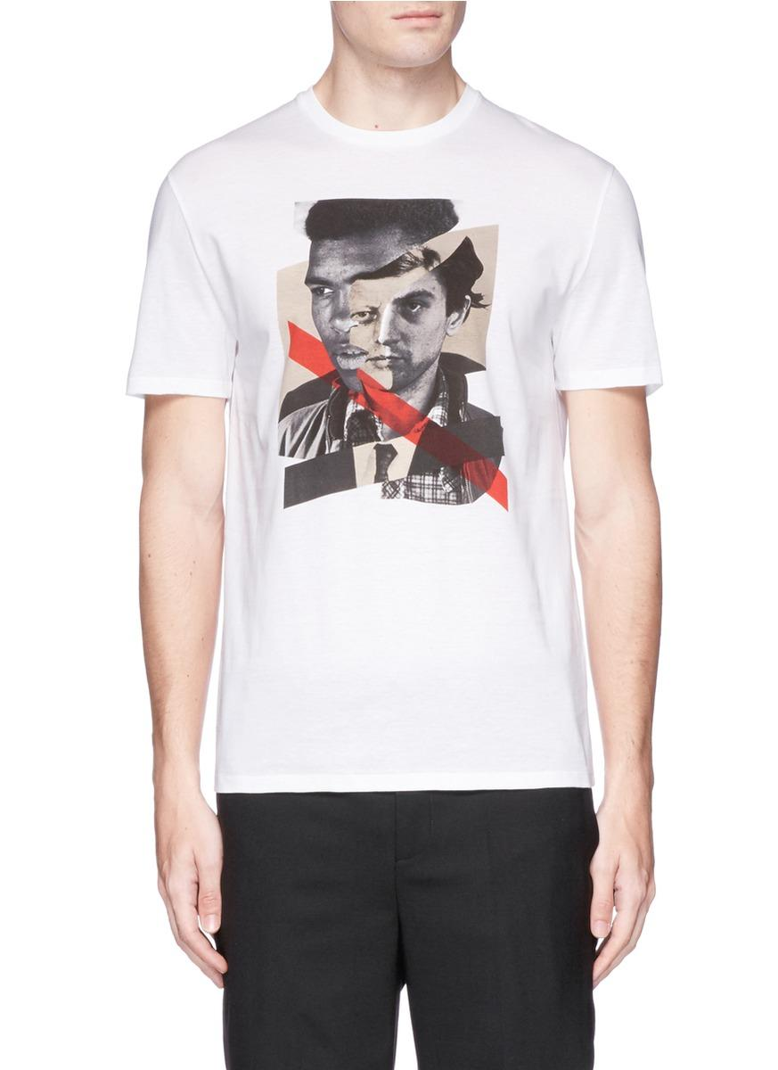 Neil Barrett 'freedom Fighters' Hybrid Print T-shirt In White