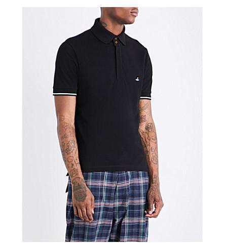 Vivienne Westwood Logo-Embroidered Cotton-PiquÉ Polo Shirt In Black