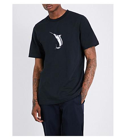 Oamc Swordfish Cotton-jersey T-shirt In Black