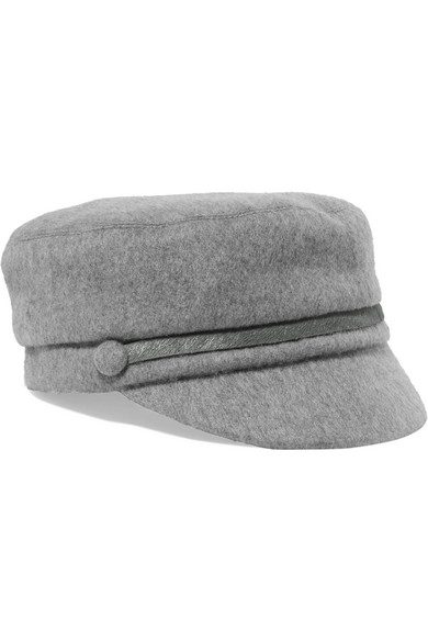 Eugenia Kim Elyse Calf Hair-trimmed Cashmere-felt Cap In Gray