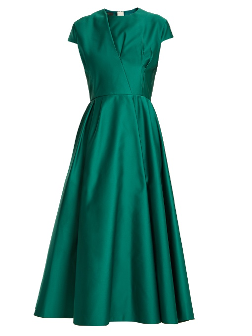 Rochas Capped-sleeve Duchess-satin Dress In Green