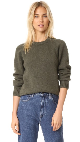 A.p.c. Stirling Round-neck Wool Sweater In Kaki