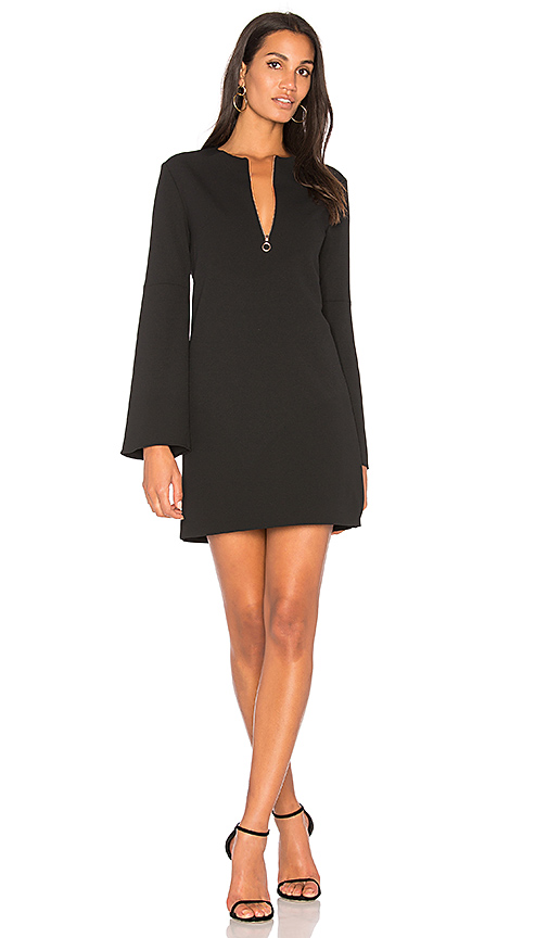 Tibi Zip-front Crepe Mini Dress In Black