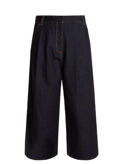 Tibi Sam High Waist Culotte Jeans In Indigo-blue