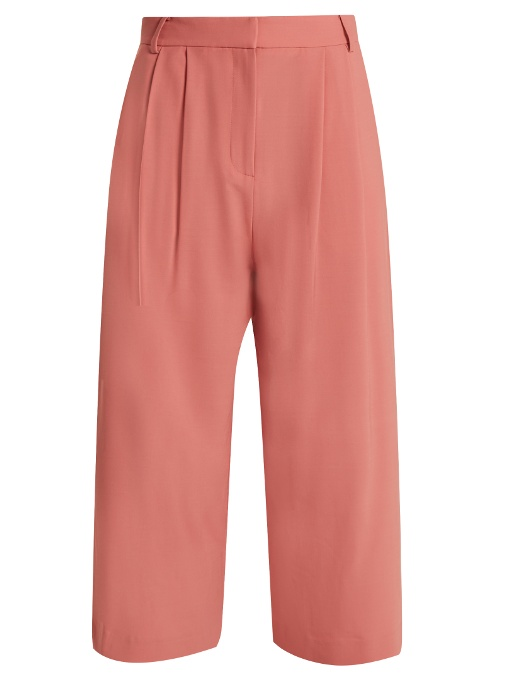 Tibi Stella Wide-leg Cropped Trousers In Pink