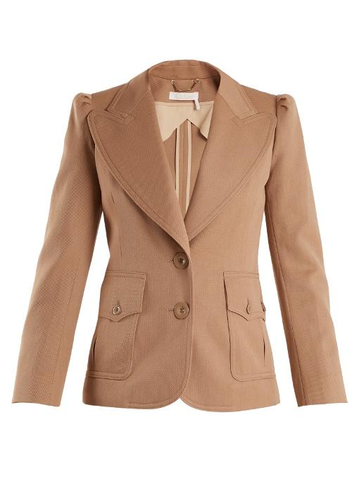 ChloÉ Peak-lapel Single-breasted Wool-blend Jacket In Seed Brown