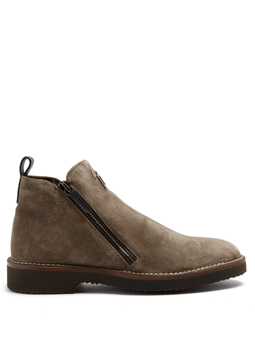 Giuseppe Zanotti - Suede Boot With Signature Austin In Brown