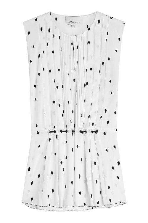3.1 Phillip Lim Woman Pintucked Gathered Printed Silk Crepe De Chine Top White