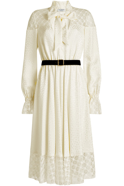 Philosophy Di Lorenzo Serafini Belted Dress With Lace In White
