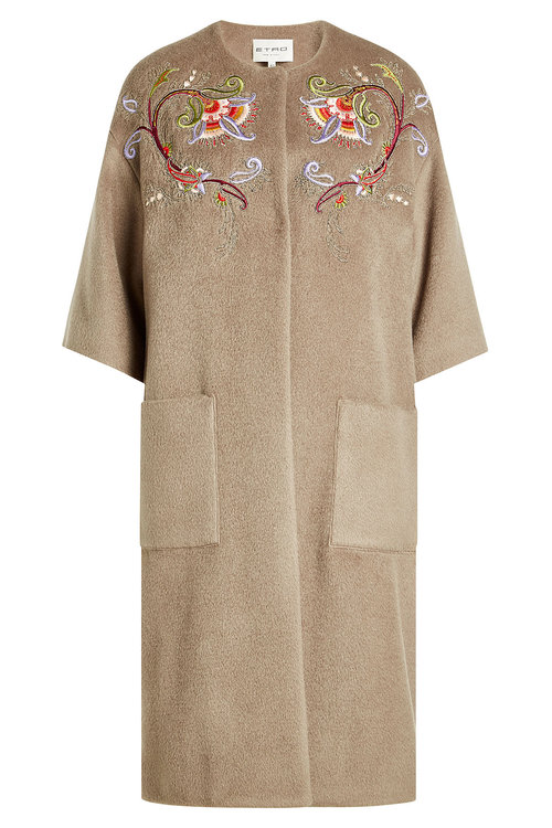 Etro Embroidered Coat With Wool And Mohair In Beige
