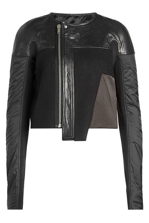 Rick Owens Wool Jacket With Leather In Black