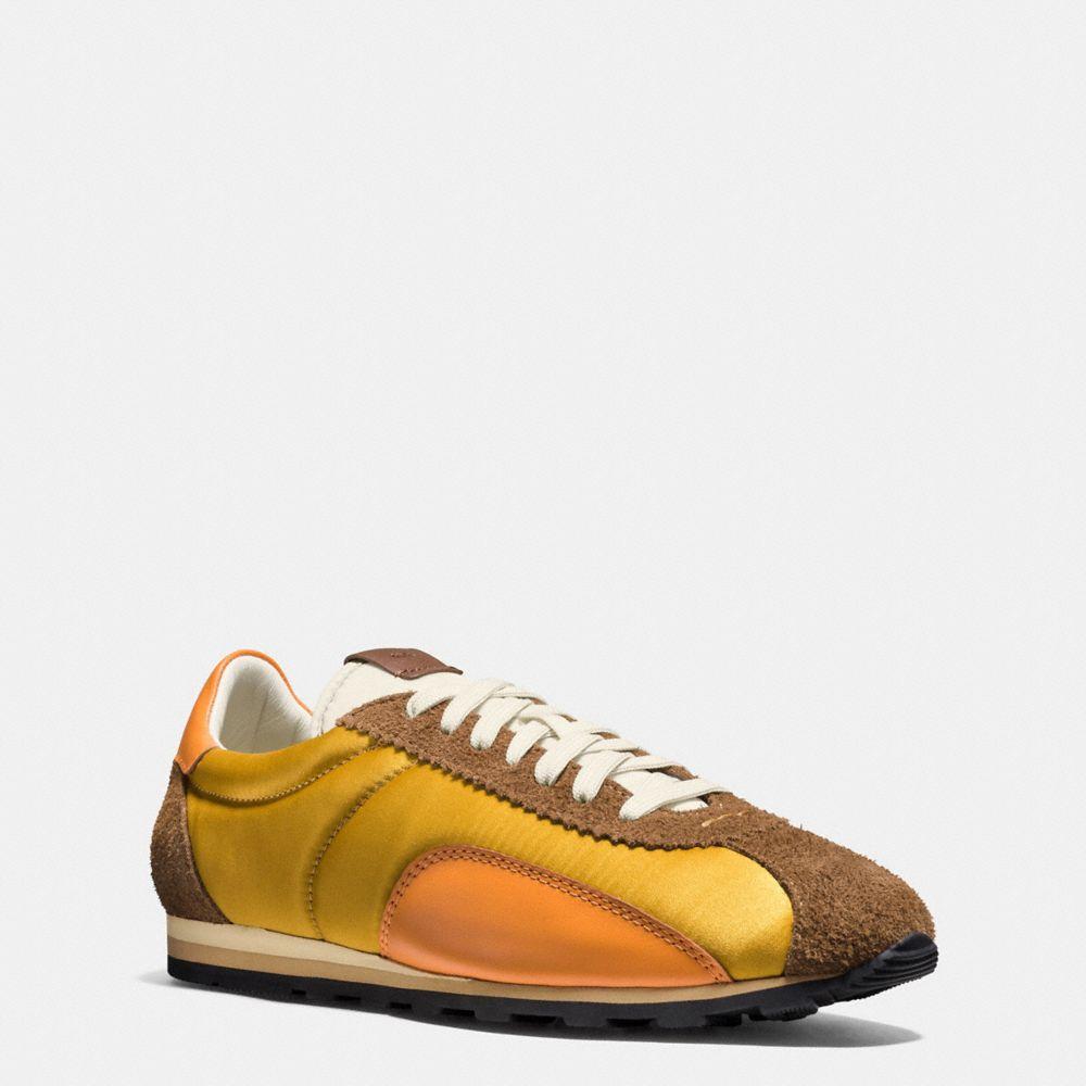 Coach 'c122' Colourblock Satin Suede Sneakers In Mustard/camel/burnt Orange